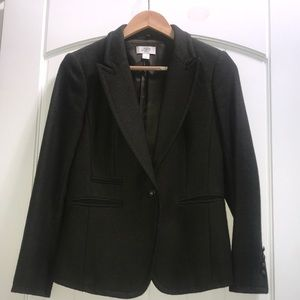 Wool blazer with removable faux fur collar